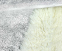 Westen- und Mantelstoff in Wildlederoptik - Glänzend - Glitzer - Silber