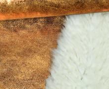 Westen- und Mantelstoff in Wildlederoptik - Glänzend - Glitzer - Bronze