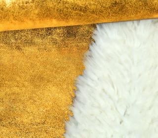 Westen- und Mantelstoff in Wildlederoptik - Glänzend - Glitzer - Gold