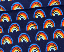 Babycord - Feincord - Regenbogen - Colorful Autumn - Dunkelblau