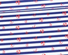 Badestoff - Swimwear - Anker - Streifen - Maritim - Dunkelblau/Weiß