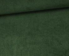 Stretchcord - Feincord - elastischer Babycord - Uni - Tannengrün