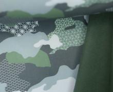 Softshell - Fleece - Camouflage - geometrische Muster - Khakigrün Dunkel