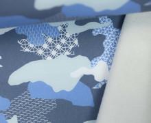 Softshell - Fleece - Camouflage - geometrische Muster - Taubenblau