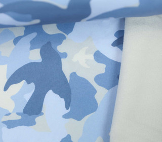 Softshell - Fleece - Camouflage - Vogel - Blau