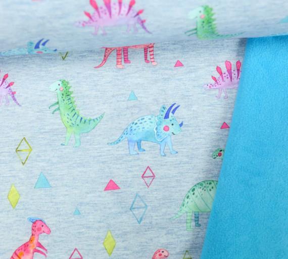 Softshell Fleece Bunte Dinos Dinosaurier Blaugrau Meliert