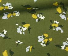Viskose Twill - Blumen - Abstrakte Blüten - Secret Garden - Milliblus - Olivgrün