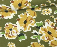 Viskose Twill - Blumen - Große Blüten - Secret Garden - Milliblus - Olivgrün