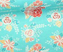 Jersey - Happy Flowers - Blumen - Blüten - Türkisblau - Alpenmädchen