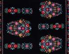 Viskose Twill - Rapport 90cm - Blumen - Blumenborte - Stitched Folk - Milliblus - Schwarz