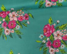Rayon - Blusenstoff - Blumenbouquet - gezeichnete Blüten - Sharon Holland - Meergrün