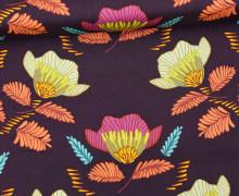 Stoff - Blüten - Blumen - Autumn Vibes - Maureen Cracknell - Schwarzviolett