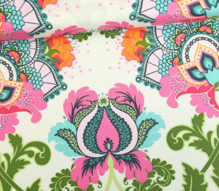 Stoff - Mandala - Blüten - Fusion - Cremeweiße