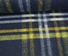Fashionstoff - Wolle - Leicht elastisch - Karo - Kariert - Nachtblau