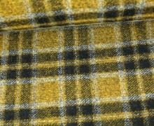 Fashionstoff - Wolle - Mohair - Leicht elastisch - Karo - Kariert - Schwarz/Gelb