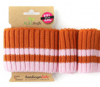 Bio-Bündchen - Cozy Stripes - Botanical - XXL - Cuff Me - Hamburger Liebe - Orange