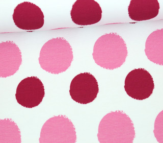Jersey - Painted Dots - Punkte - Magenta - Living for Fabrics