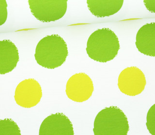 Jersey - Painted Dots - Punkte - Hellgrün - Living for Fabrics