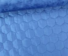 Steppstoff - Sechsecke - Matt glänzend - Geometric - Wattiert - Blau