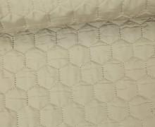 Steppstoff - Sechsecke - Matt glänzend - Geometric - Wattiert - Beige