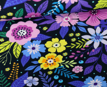 Jersey - Midnight Flowers - Blumen - Schwarzblau - Living for Fabrics
