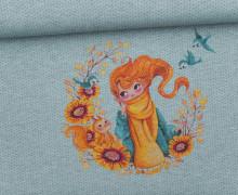 Sommersweat - Paneel - HerbstTraum - Strickoptik - Jeansblau - grau - meliert - Wildblume-Illustration - abby and me