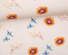 Sommersweat - Bio Qualität - Kombistoff - HerbstTraum - Blumen - Creme - Wildblume-Illustration - abby and me
