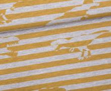Sommersweat - Tyrannosaurus-Rawr - Dinosaurier - Streifen - Gelb - grau - meliert - Abby and Me