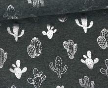 Jersey - Glänzend - Kaktus - Shiny Little Things - Dunkelgrau meliert/Silber