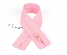 1x15cm Polyesterreißverschluss - Nicht Teilbar - Hochwertig - Opti - Rosa (0749)
