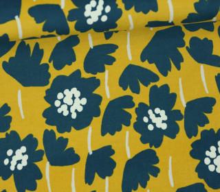 Baumwollsamt - Velvet - Blumen - Elastisch - Tillisy - Senfgelb