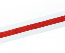1 Meter Ripsband - Köperband - 30mm - Streifen - Weiß/Rot