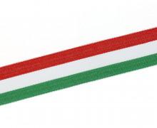 1 Meter Ripsband - Köperband - 30mm - Streifen - Rot/Weiß/Grün
