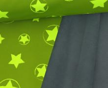 Softshell - Fleece - Sterne - Stars - Neon - Matt glänzend - Gelbgrün/Neongelb