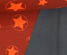 Softshell - Fleece - Sterne - Stars - Neon - Matt glänzend - Rostorange/Neonorange