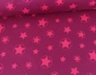 Softshell - Fleece - Sterne - Stars - Neon - Matt glänzend - Fuchsia/Neonpink