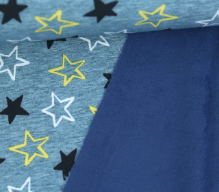 Softshell - Fleece - Little Stars - Sterne - Petrolblau meliert