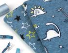 Softshell - Fleece - Little Stars - Sterne - Petrolblau meliert