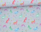 Softshell - Fleece - Bunte Dinos - Dinosaurier - Grau Meliert