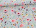 Softshell - Fleece - gezeichnete Blumen - Flower - Grau Meliert