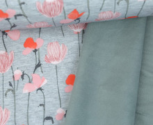 Softshell - Fleece - Aquarellblumen - Flower - Grau Meliert