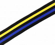 1 Meter Zierband - Dekoband - 30mm - Streifen - Bi-Elastisch - Schwarz/Gelb/Royalblau