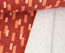 Steppstoff - Elastisch - Wattiert - Rauten - gemalte Striche - Rostrot