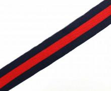 1 Meter Zierband - Dekoband - 30mm - Breite Streifen - Bi-Elastisch - Schwarzblau/Rot