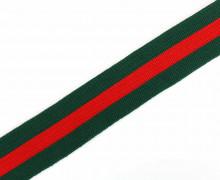 1 Meter Zierband - Dekoband - 30mm - Breite Streifen - Bi-Elastisch - Grün/Rot