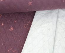 Steppstoff - Elastisch - Wattiert - Rauten - Sterne - Herzen - Beere Blass