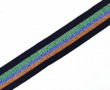 1 Meter Zierband - Dekoband - Glitzer - 30mm - Streifen - Bi-Elastisch - Schwarzblau/Grün/Royalblau/Orange