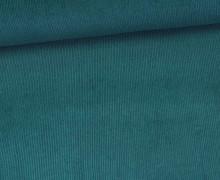Stretchcord - Feincord - elastischer Babycord - Uni - Meerblau