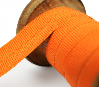 1 Meter Faltgummi - elastisch - Faltband - Matt - Rippe - 20mm - Orange