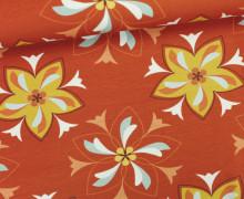 Jersey - Delft - Blumen - Blüten - Rostrot - Seed & Story